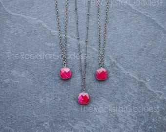 Gunmetal Ruby Necklace /  Ruby Pendant /  Ruby Jewelry / Ruby Pendant / Gunmetal Ruby Jewelry / Mother's Day Gift / Gift for Mom
