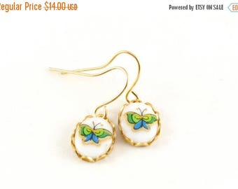 25% OFF SALE Tiny Butterfly Cameo Earrings, Butterfly Earrings, Glass Butterfly Cabochon Dangle Earrings