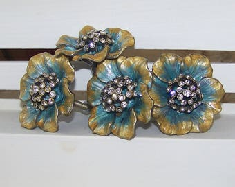RESERVED  5 Floral Knob- Turquoise and Gold with Rhinestone Center-Dresser Knob-Drawer Pull