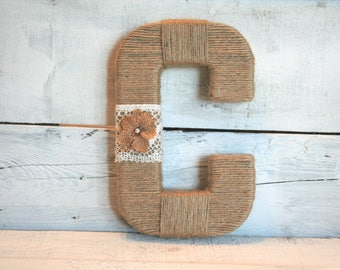 Yarn Wrapped Letter with Lace and Burlap Flowers | Jute Wrapped Letters | Custom Wrapped Letters | Wreath Letter | You Choose Your Letter(s)