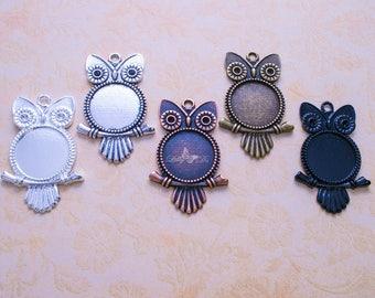 50- 20mm Round Owl Blank Bezel Pendant Trays - Owl Pendant Tray - Silver, Antique Silver, Antique Brass, Antique Copper, Black. Owl Findings