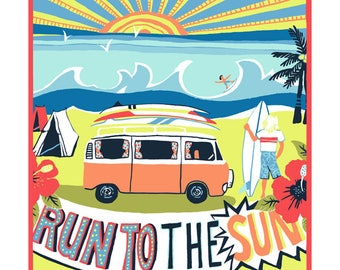 Run to the sun greeting card by Kate Cooke