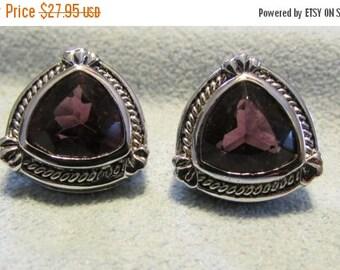 On Sale NOW Earrings, February Birthstone, Purple Triangle Stones, Silver setting, Pierced Earrings ~ BreezyTownship.etsy.com -- ER007