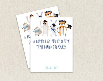 Pirate A friend like you is better than buried treasure kids Valentine Day cards