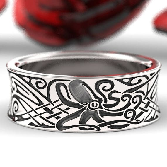 Engraved Octopus Norse Wedding Ring in Sterling Silver, Octopus Ring, Octopus Jewelry, Octopus Wedding Ring, Made in Your Size CR-5100