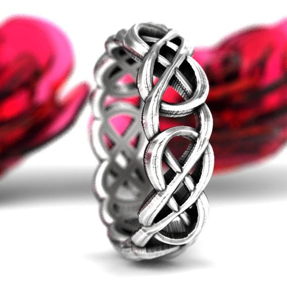 Celtic Cut-Through Infinity Symbol Design in Sterling Silver, Infinity Knot Ring, Celtic Infinity Wedding Band, Made in Your Size CR-1069
