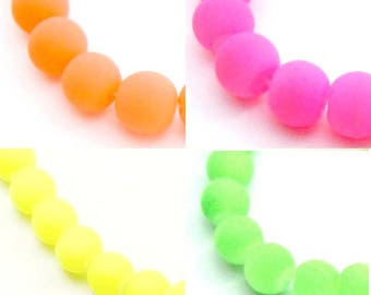 10 or 100 pearls fluorescent orange fluorescent glass 10 or 12mm