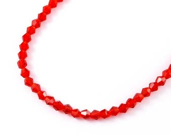 Set of 50 4mm red Czech crystal bicones