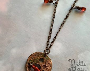 Ancient Fire & Ice necklace - FREE shipping! - Unique garnet, copper and pearl artisan necklace