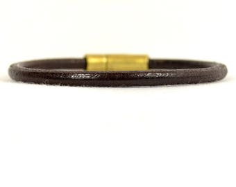 Distressed Brown Leather Bracelet an Antique Brass Magnetic Clasp  (5R-503)