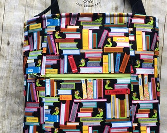 Bookworm Book Lover Library Tote Bag/Book Bag - RTS Handmade