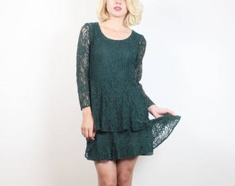 Vintage Lace Dress 1990s Dress Tiered Skater Skirt Mini Dress 90s Dress Dark Forest Hunter Green Sheer Soft Grunge Dress XS S Extra Small
