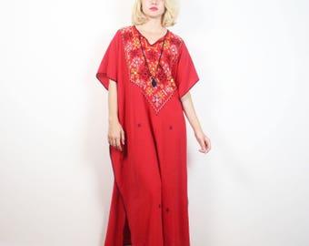 Caftano rosso vintage nero bianco giallo ricamato Hippie Abito Boho Kaftan Dress Maxi integrale Festival etnici bohemien abito S M L XL OS
