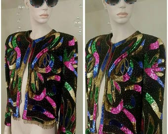 vintage SCALA 100% Silk Sequins and beads Lined short Jacket top size L