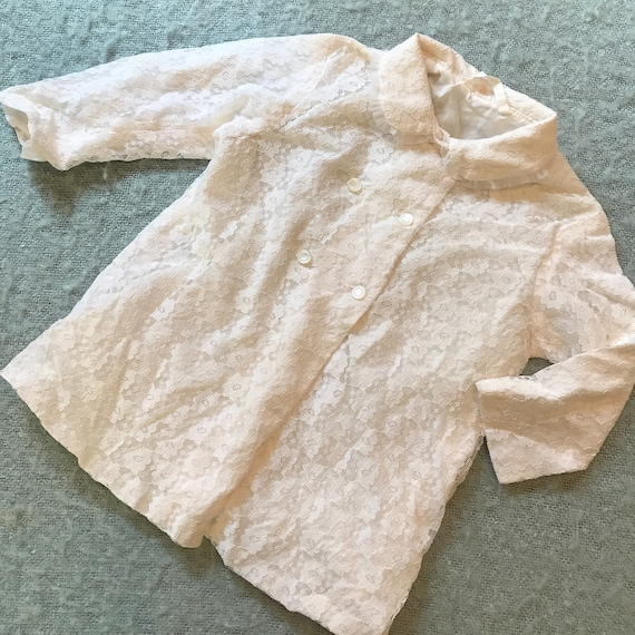 Vintage baby coat christening gown traditional white lace 1960s baby shower gift vintage childrenswear 3M 6M