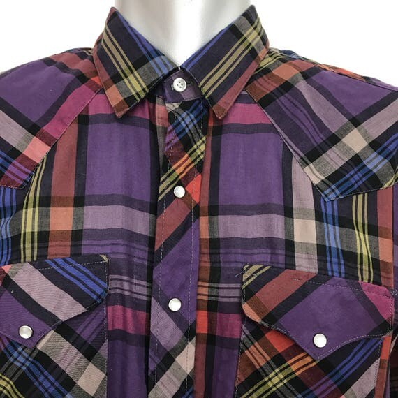 Vintage Western Shirt purple check poly cotton cowboy shirt red plaid weave snap button front large rockabilly large short sleeve