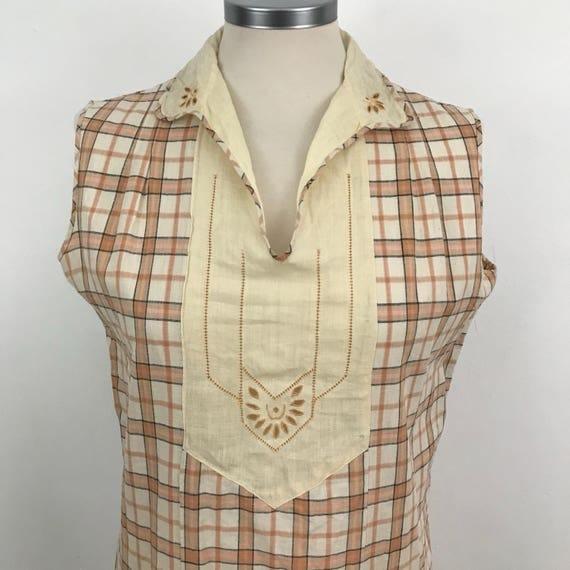 1920s dress cotton plaid day dress drop waist  leisure wear Art Deco embroidered front sleeveless box pleat skirt loose straight cut UK 12