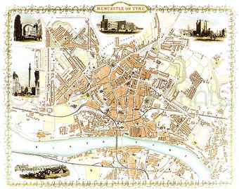 Newcastle 1851 - Antique English Town Map of Newcastle on Tyne - 8 x 10 ins PRINT - FREE P&P UK