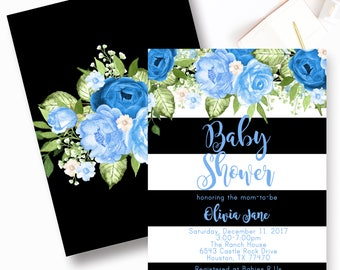 Boy Floral Chic Baby Shower Invitations, Blue Rose Baby Shower Invitation
