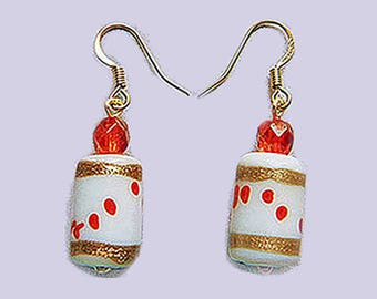 White & Red Lampworked Glass Bead Gold Drop Earrings