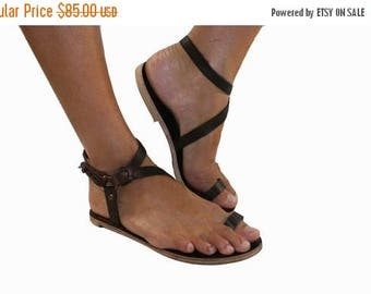 15% OFF Brown Leather Sandals for Women & Men - Handmade Leather Sandals, Casual Leather Flats, Unisex Sandals, Genuine Leather Sandals