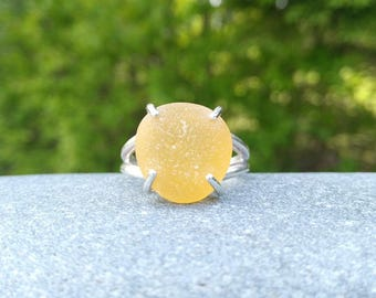 Sunflower yellow sea glass & sterling silver ring// Size 9