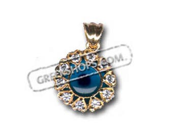 14k Gold Evil Eye Pendant - Flower-Shaped with Cubic Zirconia (13mm), Imported From Greece