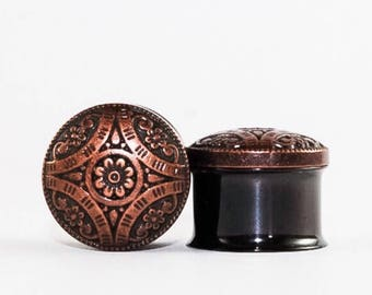 Copper Flower, Hippie-Boho Plugs, gauges  5/8, 3/4, 7/8