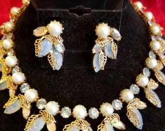 Kramer lt. blue stone and pearl set 1950's