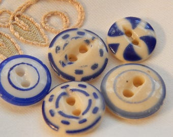 Blue on Cream and Blue on White China Stencil Buttons - 5