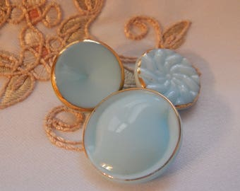 Powder Blue  Vintage Buttons with Gold Luster  - 3