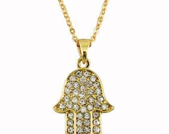 Golden Hamsa Clear Crystals Rhodium Pendant & Necklace Judaica Kabbalah