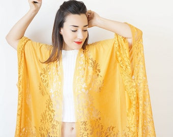 Summer Outdoors Summer Party Lace Kimono Boho Kimono Yellow Kimono Fringe Kimono Fringe Pareo Wife Gift For Aunt For Her Girlfriend / KIMONO