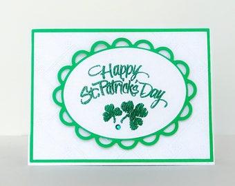 Handmade Card, St Patricks Day, Irish Card, Shamrocks, Four Leaf Clover, Good Luck Card, Friendship Card, St Pattys Day Card, Holiday Card