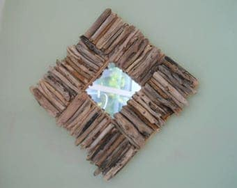 Driftwood Mirror, British Driftwood, Wall Hanging Diamond Shape, Bring the Beach into your Home