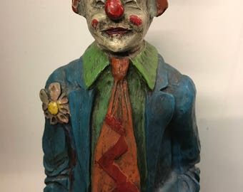 "Vintage 60's Clown Lamp 21"" Tall - Wood Base - Extraordinary Erie Tall Clown Lamp"