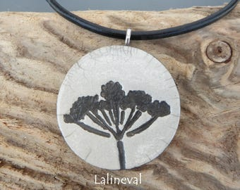 Crew neck, flowers #12 raku pendant Locket