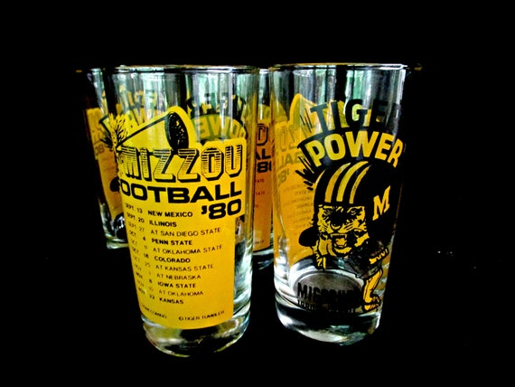 Vintage University of Missouri Highballs, Drinking Glasses, Mizzou Tigers, Football 1980