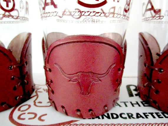 Set of 4 Bamco Barware, Leather Wraps, Longhorn Embossed, Like New, Original Box, Country Western, Gift for Cowboy, Texas Longhorns