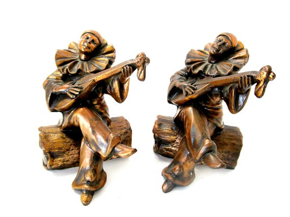 Clown Bookends, Perriot Clown Bookends, Heavy Cast Metal, Mid Century Office Decor