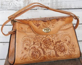 Vintage Rustic Floral Tooled Leather Box Purse