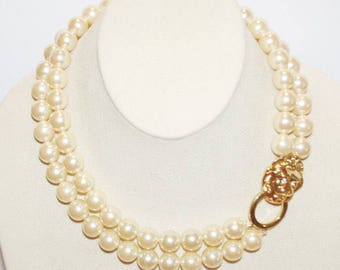 KJL Lion Head Pearl Necklace - S1610