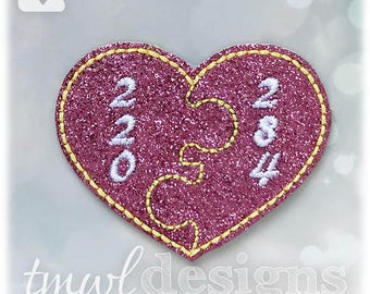 "Amicable Number Heart Feltie Digital Design File - 1.75"""