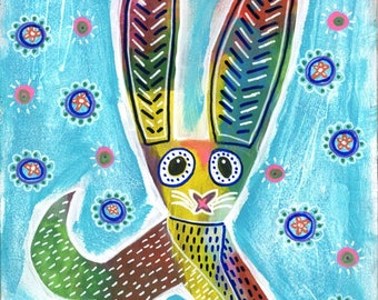 Rabbit, Rabbit Art, Rabbit Art Print, Bunny Art, Bunny Art Print, Mexican Art, Mexican Folk Art, Animal Art, Animal Artwork, Animal Prints
