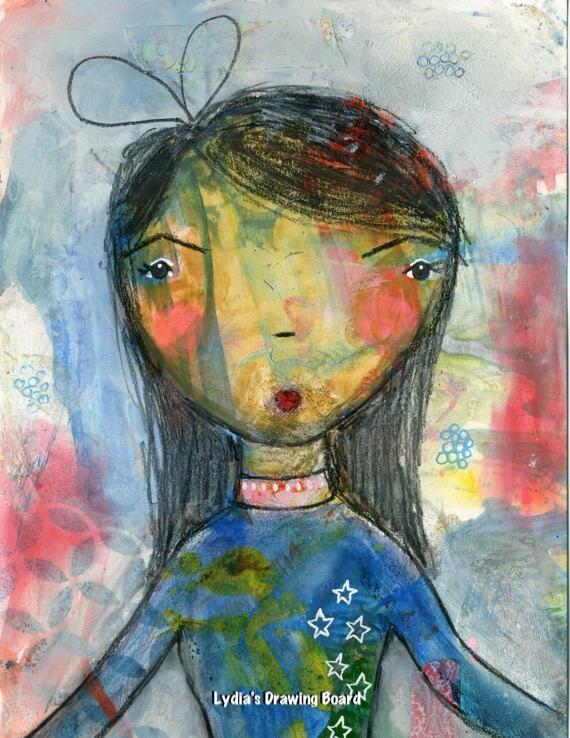 Girl Art, Girl Gifts, Girls Room Decor, Girls Room Art, Girls Room Wall Art, Mixed Media Print, Prints, Girls Art Prints, Girls Wall Decor