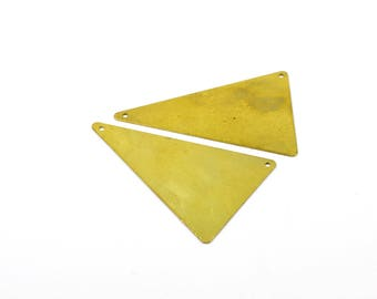 5 Pcs. Raw Brass 33x50 mm Triangular Geometric Blanks Findings 2 Hole