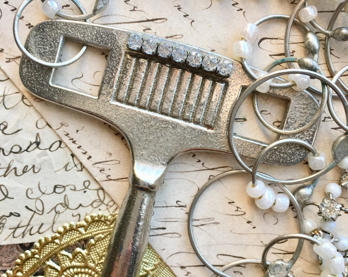 Clock key necklace, steampunk jewelry, vintage key jewelry, silver clock key, industrial bling, rhinestone key
