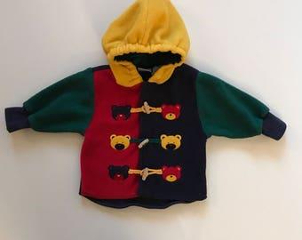 vintage color blocked fleece hoodie with bears and toggles baby boy jacket fleece jacket baby
