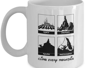 Disney Climb Every Mountain Rides Coffee Cup Mug Gift Disneyland Space Splash