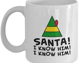 Buddy the Elf Movie Santa I Know Him Funny Gift Mug Coffee Cup Hat